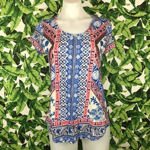 5 for $25 Lucky Brand Red Blue Printed Tee